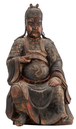 A Chinese polychrome lacquered, relief lacquered and gilt wooden sculpture depicting a seated emperor (Hongwu?), Ming dynasty, H 55 - W 30,5 - D (with base) 23,5 cm