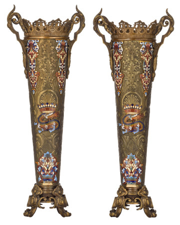A pair of bronze Oriental-inspired champlevé vases, 19thC, H 56,5 cm