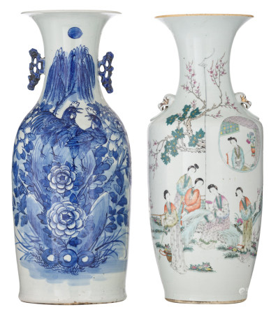 A Chinese famille rose vase, decorated with an animated scene with ladies, the back with calligraphic texts; added a ditto blue and white vase, decorated with cockerels in a garden setting, H 57,5 - 58,5 cm