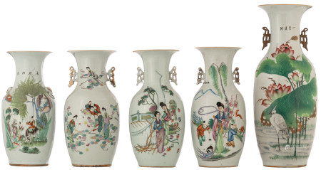 Five Chinese famille rose and polychrome vases, decorated with ladies, children, plants, flowers and animated scenes, the reverse with calligraphic texts, H 42 - 59,5 cm