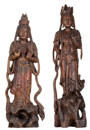 Two exotic hardwooden polychrome painted sculptures of Guanyins, H 56 - 60 cm