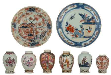 Six Chinese polychrome, iron red and famille rose tea caddies, decorated with flowers, figures and landscapes; added a ditto dish and a Japanese dish, 18thC, H 9 - 11,5 - ø 20,5 - 22,5 cm