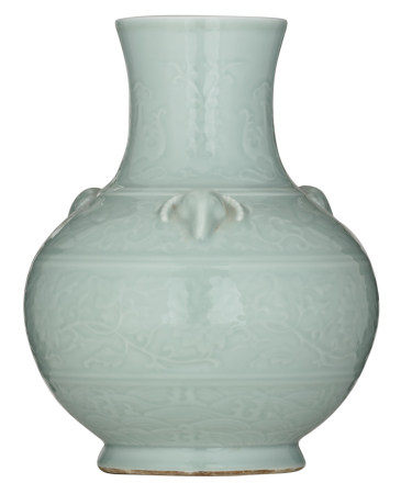 A Chinese celadon relief bottle vase, the handles ram's head-shaped, with a Qianlong seal mark, H 35,5 cm
