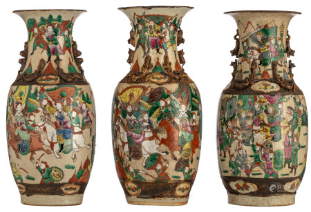 Three Chinese famille rose stoneware vases, decorated with warrior scenes, marked, H 44 - 45 cm