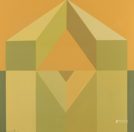 Swimberghe G., a geometric abstraction, dated 1974, oil on panel, 58 x 58,8 cm Is possibly subject of the SABAM legislation / consult 'Conditions of Sale'.