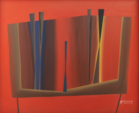 Swimberghe G., an untitled abstract composition, dated 1964, gouache on board, 73 x 89 cm Part of the G. Swimberghe retrospective in the Bruges Groeninge museum, October 1977. Is possibly subject of the SABAM legislation / consult 'Conditions of Sale'.