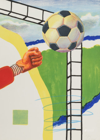 Raveel R., 'World Cup',lithograph, N° 64/100, 56,5 x 78,5 cm Is possibly subject of the SABAM legislation / consult 'Conditions of Sale'