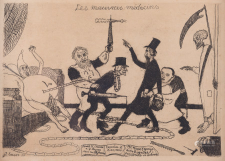 """Ensor J., """"Les mauvais médecins"""", etching, signed and dated inside the plate lower left (18)95, 17,4 x 24,6 cm"""