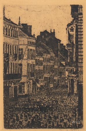 Ensor J., 'La musique rue de Flandre' Ostend, dated 1890, etching, 7,8 x 12 cm