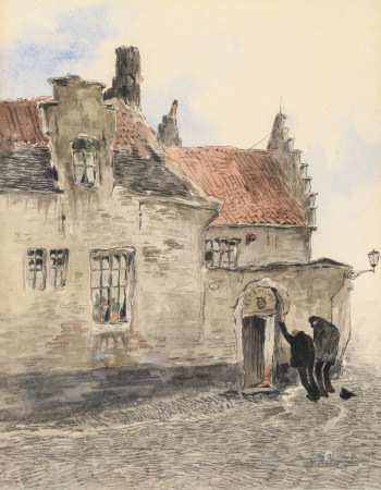 De Bruycker J., 'Estaminet', pencil drawing and watercolour on paper, 24 x 31 cm