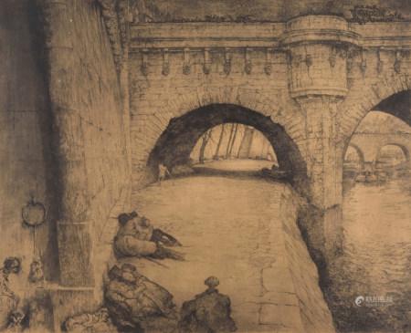 De Bruycker, J., Pont Neuf Paris, etching and aquatint on paper, N° 38/100, 46,5 x 56,5 cm