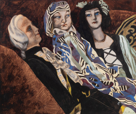 Spilliaert L., 'Les poupées', dated 1934, gouache, watercolour and pencil on paper, 52,5 x 62,5 cm Was viewed and approved by Mrs Anne ADRIAENS - PANNIER, Artistic Director of the Spilliaert Huis in Ostend and author of the 'Léon Spilliaert Catalogue Raisonné', in which the work will be included.
