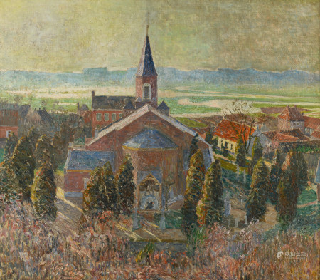 """Claus E. (no visible signature),'Gezicht op Deurle en de Leie' (a view on Deurle and the Lys), ca. 1920, oil on canvas, 74 x 83 cm Part of the exhibitions: """"Emile Claus"""", Gallery A. Vyncke-Van Eyck, Ghent, 1943 and """"Emile Claus and Belgian Impressionism"""", Himeji City Museum of Art, Tokio Station Gallery, Ishakawa Prefectural Museum of Art, Hekinan City Tatsukichi Fujii Museum of Contemporary Art, 2013, cat. exp., no. 28, p. 75"""