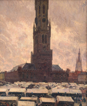 Coppens O., a view on the Bruges marketplace and belfry during the weekly Saturday market, dated (19)19 (?), oil on plywood, 46 x 56 cm