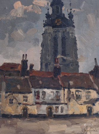Vermeersch J., 'Begijnhof van Kortrijk' (the beguinage ofCourtrai), dated 1939, oil on canvas on  Is possibly subject of the SABAM legislation / consult 'Conditions of Sale'plywood, 35 x 45 cm Part of the retrospective of José Vermeersch, PMMK, Oostende, 2001 - 2002