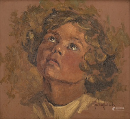 Vermeersch J., the portrait of the artist's sister, oil on plywood, 32 x 34,5 cm Is possibly subject of the SABAM legislation / consult 'Conditions of Sale'