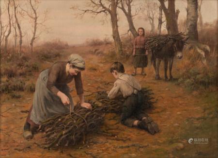 Alsina J., children gathering wood, oil on canvas, 54 x 73 cm