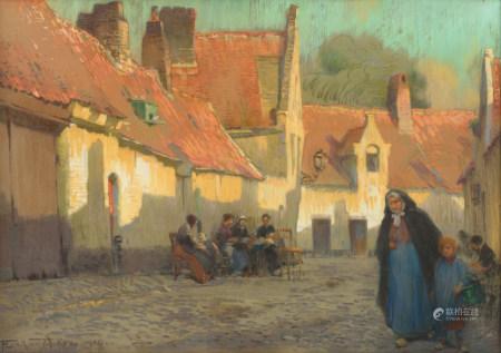 Van Acker F., 'Avondschemering' (evening twilight), dated 1914, pastel on canvas, 66 x 95 cm