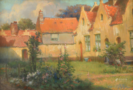 Van Acker F., 'Huisjes in de zomer' (cottages in the summer), pastel on canvas, 63 x 95 cm