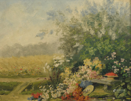 Indistinctly signed, a garden setting, oil on board, 28 x 36,5 cm