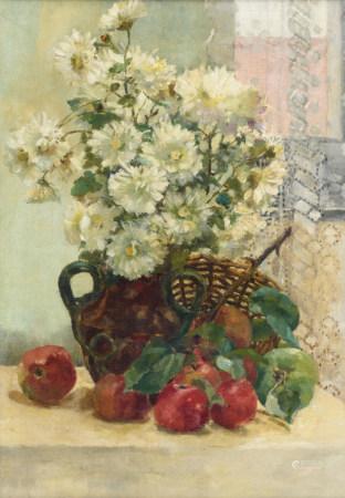 No visible signature (attributed to De Bievre M.), a flower still life, oil on canvas, 45 x 62 cm