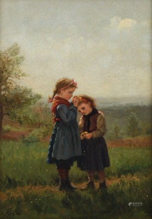 Charles-Edouard Frère, 'a garland for sister', dated 1879, oil on panel, 34 x 24 cm