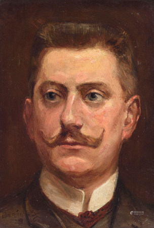 Berings L., the portrait of a man, dated 1916, oil on panel, 15 x 20,5 cm