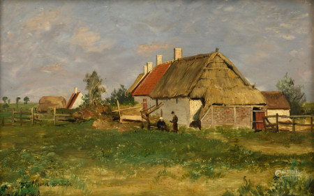 Mols R., 'a view on a farm', with an annotation 'Madame Fritheim souvenir', oil on panel, 20,5 x 32,5 cm