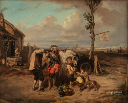 Le Poittevin E., 'Cabaret du camp', with inscription 'Cabaret du camp. Le Poittivin Loge à Pied à Cheval', oil on canvas, 38 x 46,5 cm