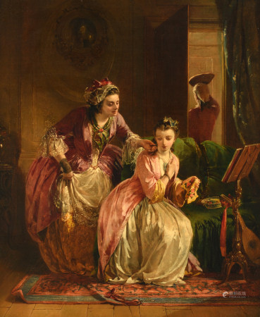 Horsley J.C., 'Hide and Seek - Found', oil on canvas, signed and dated H.A.1857 (in the carpet), the painting figured in the Royal Academy of Arts in 1857, 61 x 50,5 cm