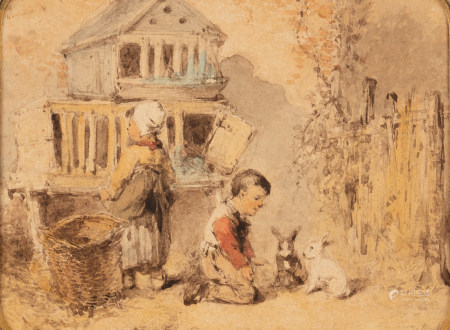 Ten Kate J.M., 'a little boy and his rabbits', pencil and watercolour on paper, 14,5 x 11,6 cm