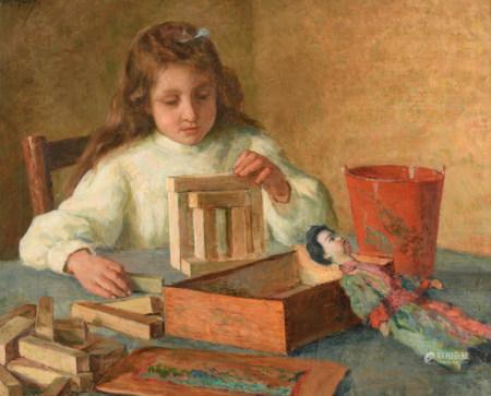 Van den Eenden N., a girl playing with wooden toy blocks, oil on canvas, 70 x 85 cm