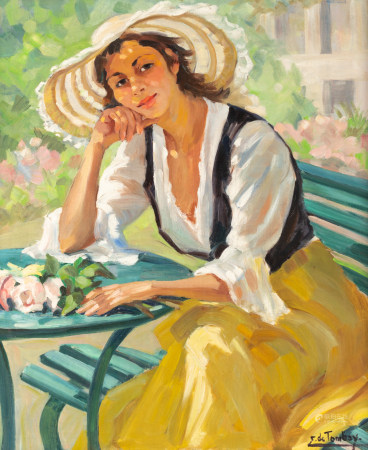 De Tombay E., a beauty enjoying the sun in the garden, oil on canvas, 61 x 73,5 cm Is possibly subject of the SABAM legislation / consult 'Conditions of Sale'