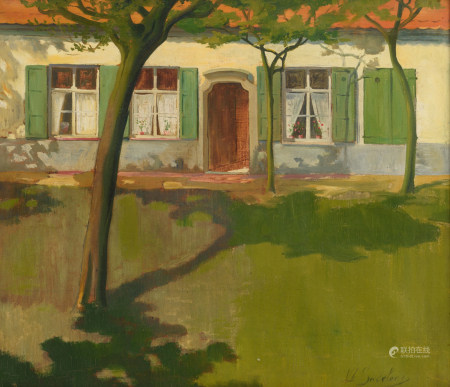 De Sadeleer J., a view on a farm with trees, oil on canvas, 35 x 40 cm Is possibly subject of the SABAM legislation / consult 'Conditions of Sale'