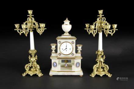 SET OF FRENCH WHITE MARBLE AND GILT BRONZE GARNITURE