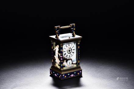 AN EUROPEAN CLOISONNE ENAMEL CLOCK