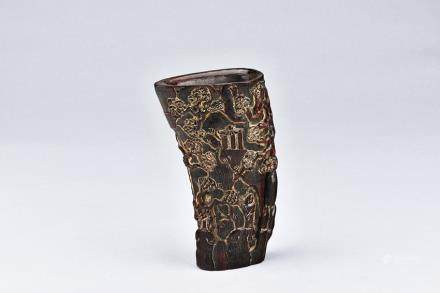 A HORN CARVED BRUSHPOT