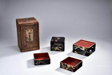 A JAPANESE LACQUER BOX SET