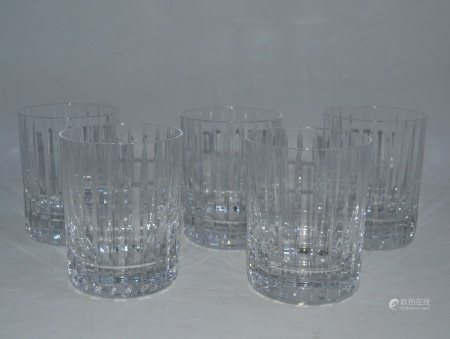 BACCARAT  - Suite de cinq verres à orangeade en cristal, signés de la pastille [...]