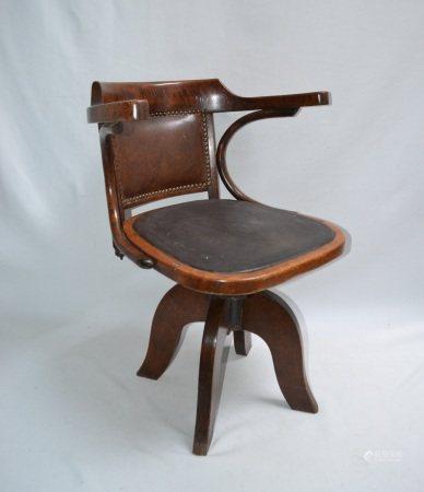 THONET  - Fauteuil de bureau à assise tournante   - H.: 75 cm  -