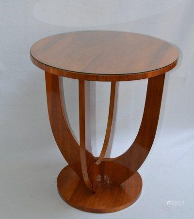 GUERIDON dit BOUT DE CANAPE en bois de placage, le plateau circulaire  - Style Art [...]