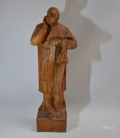 François Xavier JOSSE (1910-1991)  - L'évêque  - Bois sculpté et signé  - H.: [...]