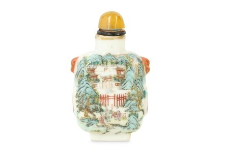 A CHINESE FAMILLE ROSE 'LANDSCAPE' SNUFF BOTTLE.