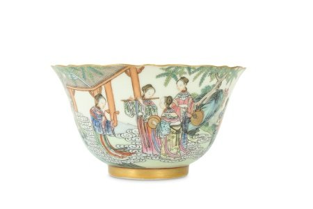 A CHINESE FAMILLE ROSE 'IMMORTALS' BOWL.