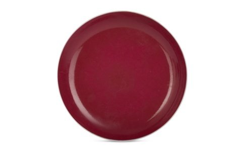 A CHINESE RUBY-GLAZED DISH.
