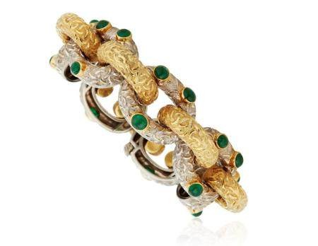 TIFFANY & CO. EMERALD AND TWO-TONE GOLD BRACELET