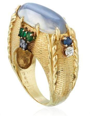 CARTIER MOONSTONE, DIAMOND AND MULTI-GEM RING