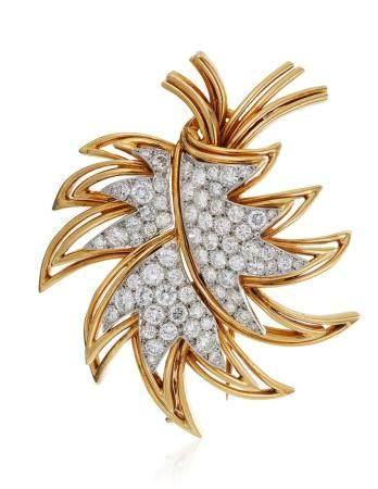 BOUCHERON DIAMOND LEAF BROOCH