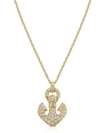 BULGARI DIAMOND AND GOLD ANCHOR PENDANT