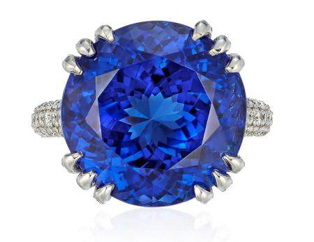 TANZANITE AND DIAMOND RING WITH GIA REPORT